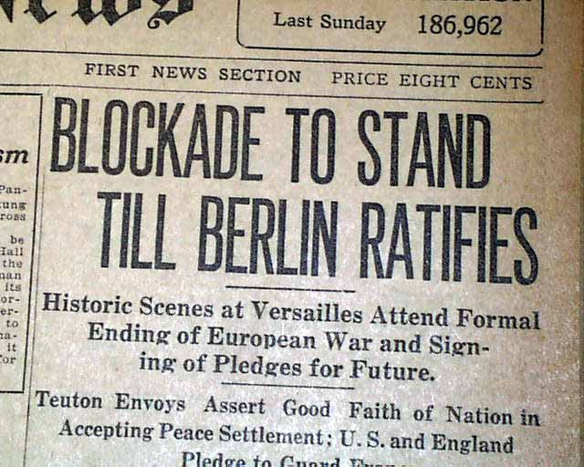 Newpaper Blockade 1919